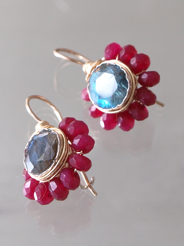 earrings Flower ruby and labradorite