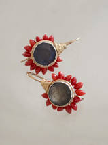 earrings Flower labradorite and coral