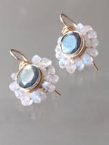 earrings Flower labradorite and moonstone