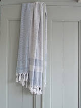 hammam towel with terry cloth, jeans blue