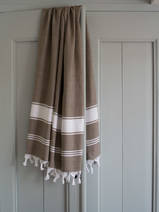 hammam towel dark olive/white