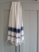hammam towel white/marine blue