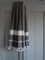 hammamdoek dark grey/white