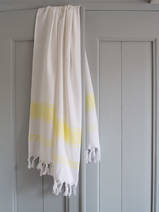 hammam towel white/lemon yellow