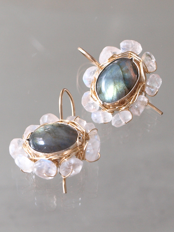 earrings Oval Mandala labradorite