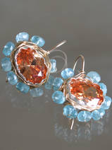 boucles d'oreilles Oval Mandala cristal orange
