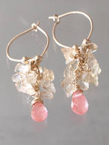 earrings Cluster citrine and cherry quartz