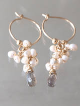 earrings Cluster pearls and labradorite