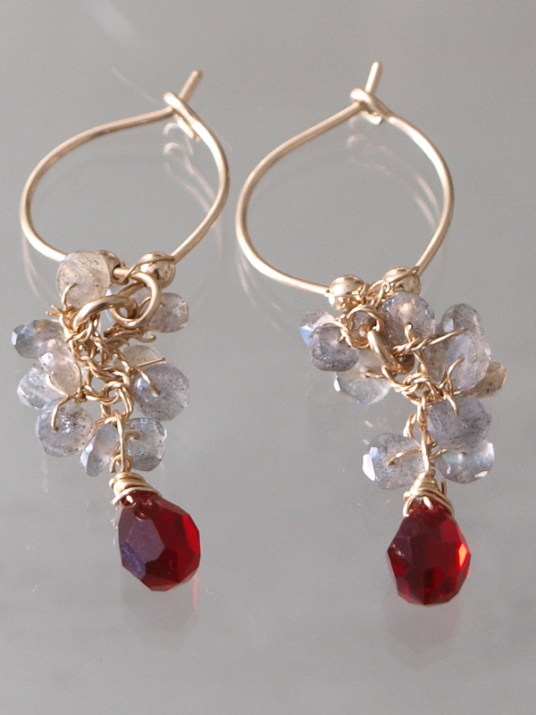 earrings Cluster with labradorite and red crystal