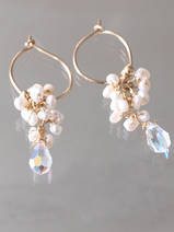 earrings Cluster pearls and crystal
