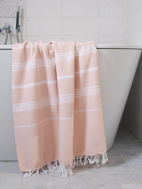 hamam towel peach/white