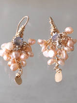earrings Fairy labradorite and pink pearls