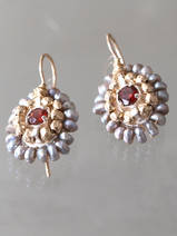 earrings Ethnic dark pearls and red crystal