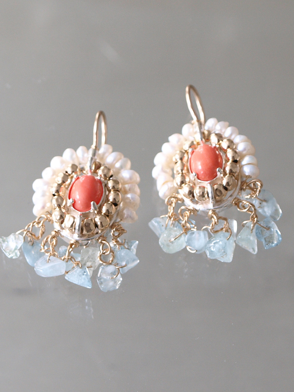 earrings Ethnic coral and aquamarine
