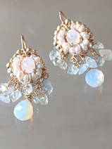 earrings Ethnic pearls and aquamarine