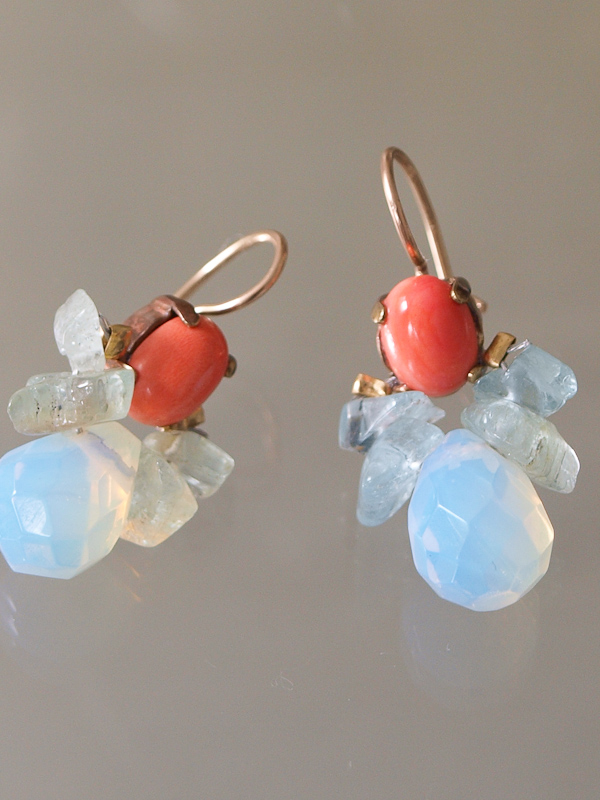 earrings Bee coral, aquamarine and opalite