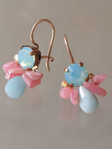 earrings Bee rhodonite, amazonite
