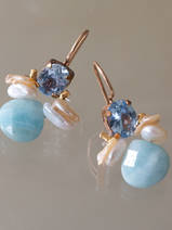 earrings Bee blue crystal, pearls, amazonite