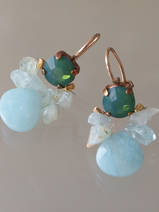 earrings Bee green crystal, aquamarine, amazonite