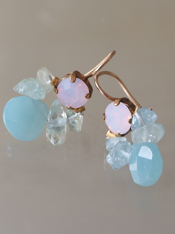 earrings Bee pink crystal, aquamarine, amazonite