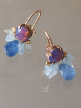 earrings Bee purple crystal, aquamarine