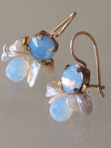 earrings Bee light blue crystal, pearls