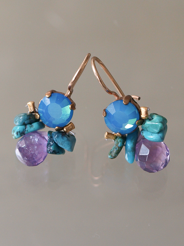 earrings Bee blue and purple crystal, turquoise