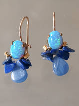 earrings Bee lab. opal, lapis, kyanite