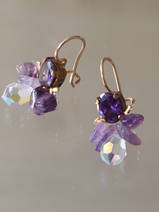 earrings Bee purple crystal and amethyst